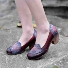 Thick High heels 2017 women shoes platform soft leather round ladies shoes handmade shallow mouth