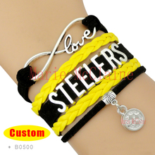 (10 Pieces/Lot) Infinity Love Pittsburgh Football Bracelet Steelers Football Team Bracelet Black Gold White Leather Jewelry