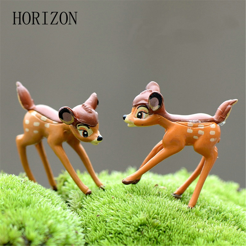 2pcs/lot Artificial mini sika deer fairy garden miniatures gnomes moss terrariums resin crafts figurines for home decoration