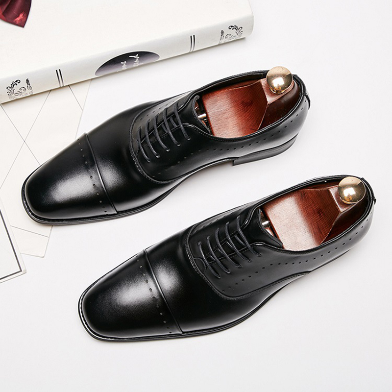 Genuine cow Leather Men formal shoes office high quality designer elegant classic luxury men oxford shoes