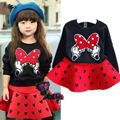 2015 New Cartoon Minnie Girls Clothes Suit Long-Sleeved  t-shirt + skirt 2pcs / set fashion bow Red Black Kids Set Free Shipping