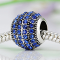 Round Shape With Full Crystal Charms Silver Plated Diy Bead Fit Pandora Charm Bracelets & Bangles Necklace For Women Jewelry