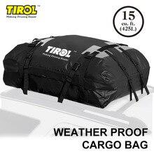 TIROL wodoszczelny dach Top Carrier Cargo bagaż podróżny torba turystyczna (15 stóp sześciennych) dla pojazdów z relingami dachowymi T24528a