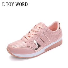 E TOY WORD 2019 New Fashion Women Pink Sneakers female Casual Shoes Platform PU Leather classic cotton Lace Up