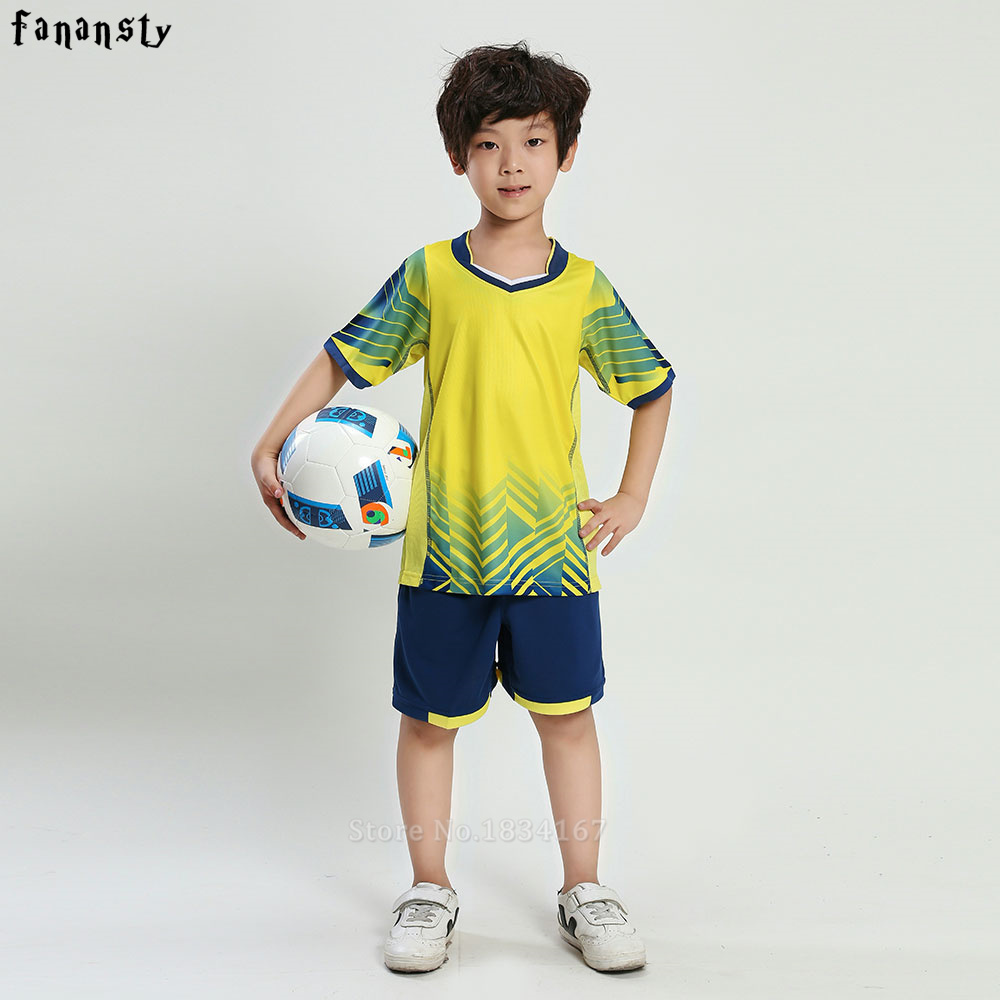 Football jersey set New Kids Soccer Training Suits Sports Sets Football Kits Boys Custom Jerseys Children Uniforms Sportswear cheapest cut and sew soccer jersey for boys full set with socks boys soccer jersey accept oem name and number 100