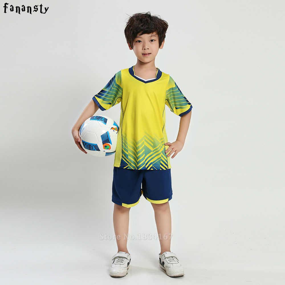 Football jersey set New Kids Soccer Training Suits Sports Sets Football Kits Boys Custom Jerseys Children Uniforms Sportswear