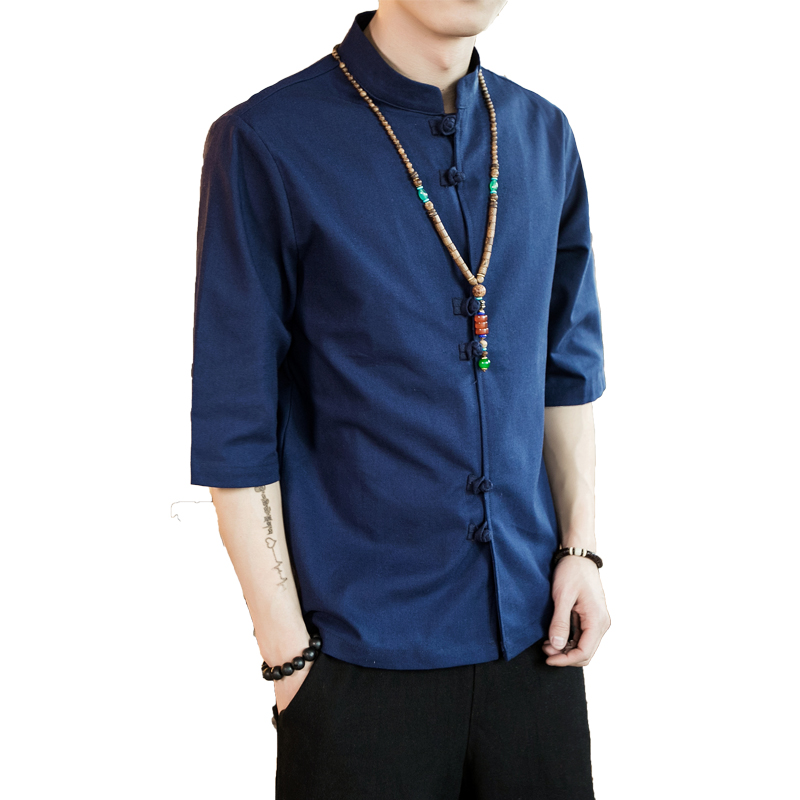 Chinese style summer fashion man's Pure color linen Short sleeve shirt high-grade male comfortable slim fit leisure shirt M-5XL 39