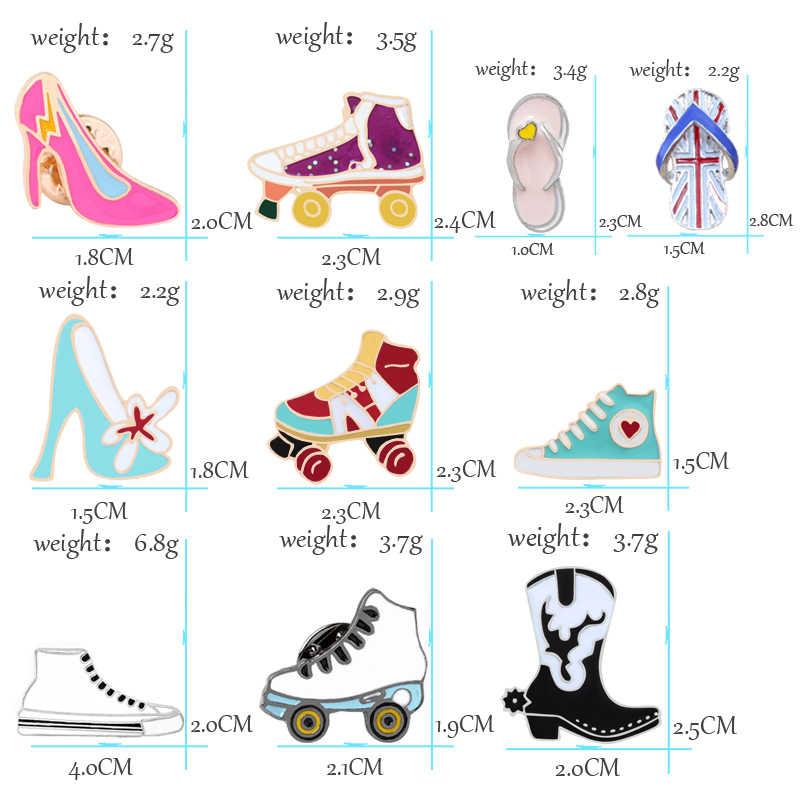 Alti Talloni di modo Pattini A Rotelle Spille Per Le Donne Scarpe di Tela Stivali Pantofole Gioielli Spilla Hijab Spilli Accessori In Metallo Regalo