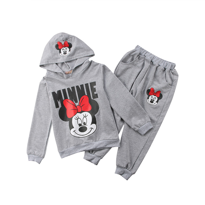 2Pcs//set Baby Girls Minnie Mouse Hoodie Coat Tops Pants Set Kids clothes suits