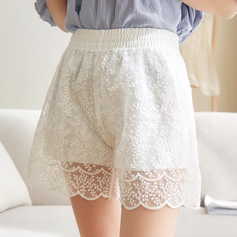 Summer Lace Shorts Women Out Wear Thin Shorts Feminino Elastic High Waist White Shorts Femme Lace Trousers Women Hotpants