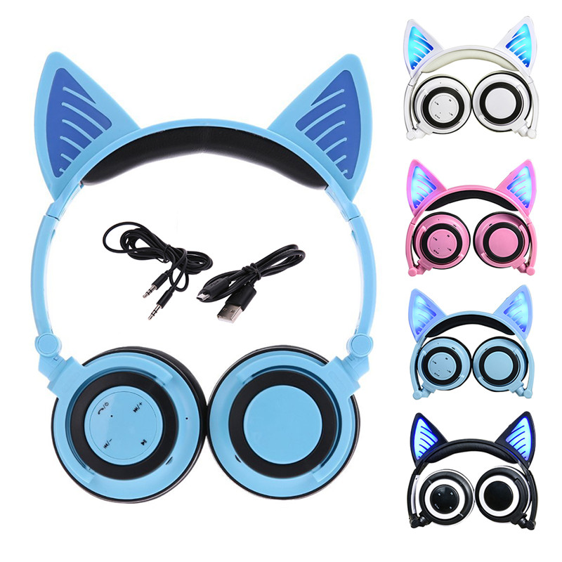Cat Ear Headphones Foldable Gaming Headset Earphone with Glowing LED Light for Computer PC Laptop Cell phone Gift for Girls Kids teamyo glowing cat ear headphones gaming headset auriculares music earphone with led light for iphone xiaomi mobile phone pc mp3