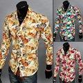 2016 новая Осень Уникальный длинными рукавами большой цветочные рубашки мужчины повседневная slim fit цветочные рубашки для мужчин, 3-х цветов, размер M-2XL
