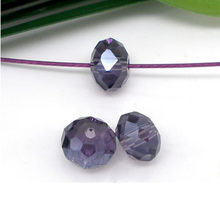 "DoreenBeads Glass Loose Beads Flat Round Purple Faceted Transparent About 4mm( 1/8"") Dia, Hole: Approx 0.8mm, 25 Pieces 2017 new(China)"