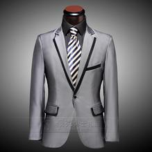 Silver 2017 new arrival slim men suit set pants mens suits wedding suit groom formal dress suit + pant + tie plus size 4XL