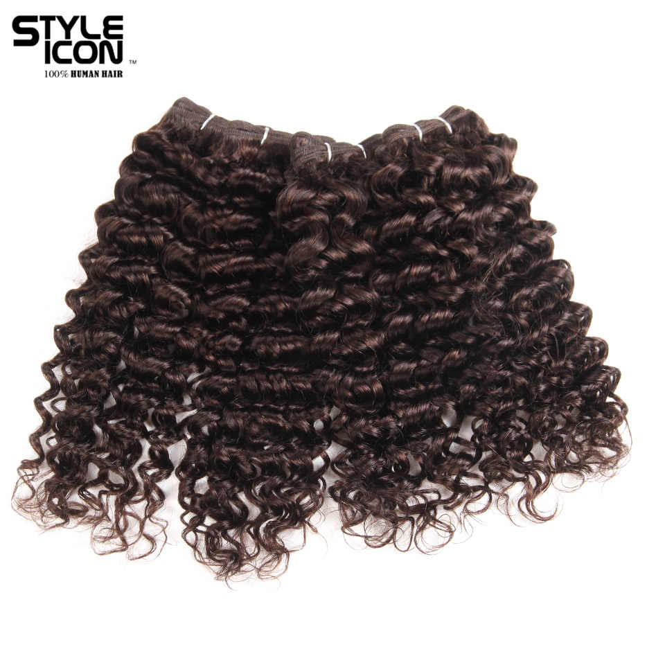 Styleicon Brazilian Jerry Curly Hair Wave Weave 4 Bundles Deal 190G 1 Pack Human Hair Bundles Color 2 Non Remy Hair Extensions