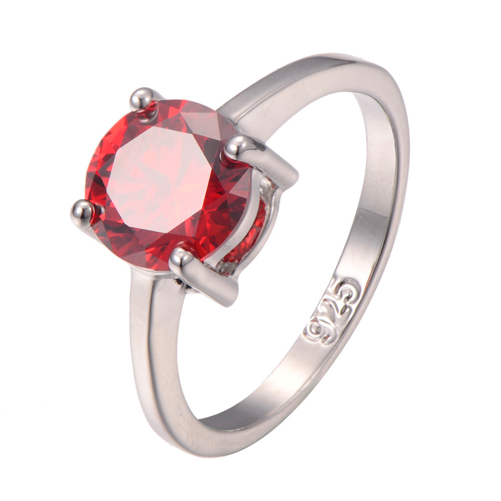 Classic Style Garnet 925 Sterling Silver Wedding Party Fashion Design Romantic Ring Size 5 6 7 8 9 10 11 12 PR19