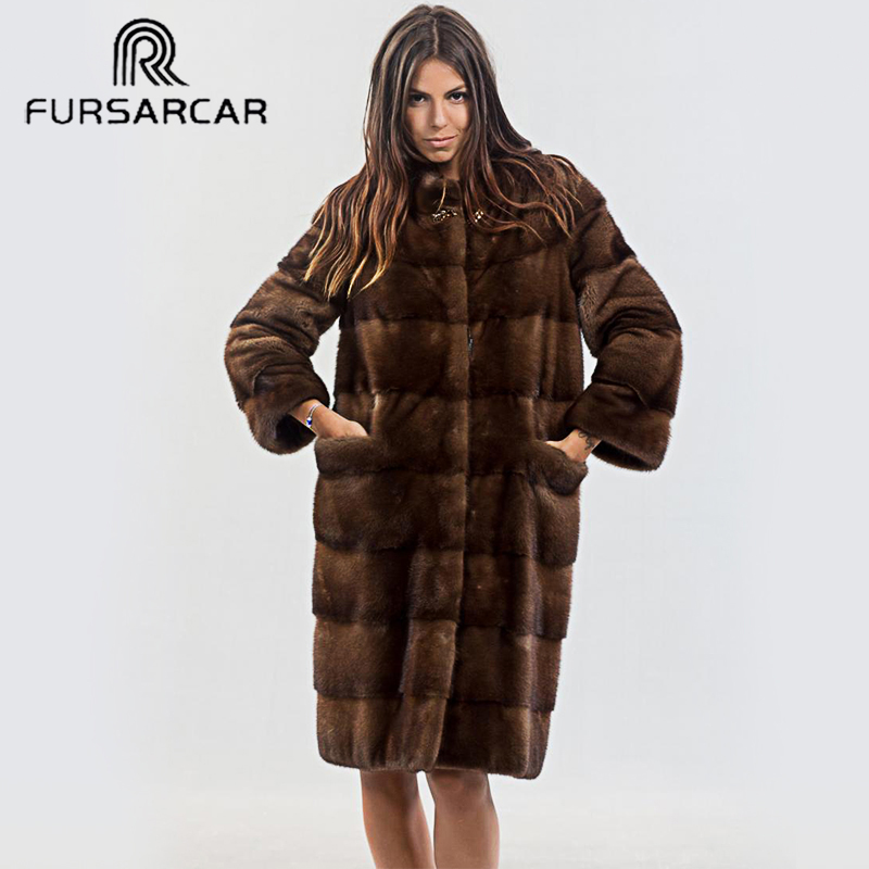 FURSARCAR Female New Mink Fur Coat Luxury Winter For Women Warm Thick Down Outwear With Collar Mink Fur Coats Natural Fur Jacket