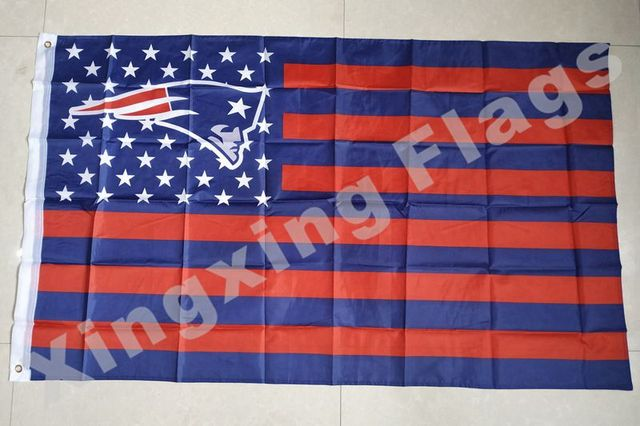 New England Patriots US flag with star and stripe 3x5 FT Banner Polyester NFL flag 4