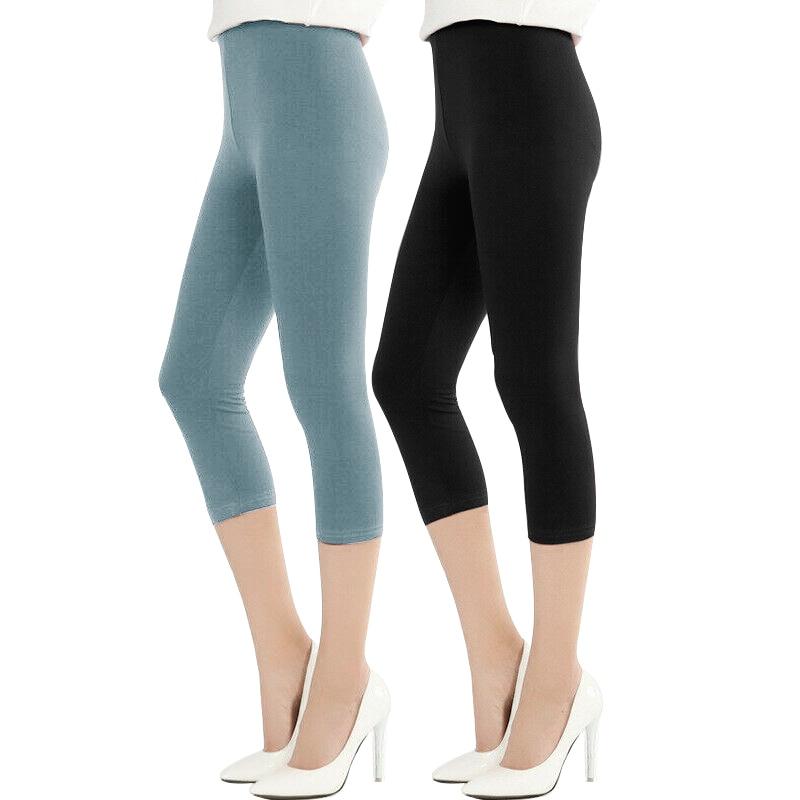 2 Pcs/3 Pcs Weiche Elegante Abnehmen Elastische Kalb-länge Frauen Hosen Der Mittleren Taille Dünne Bleistift Hosen Hosen Leggings M30235 üBereinstimmung In Farbe