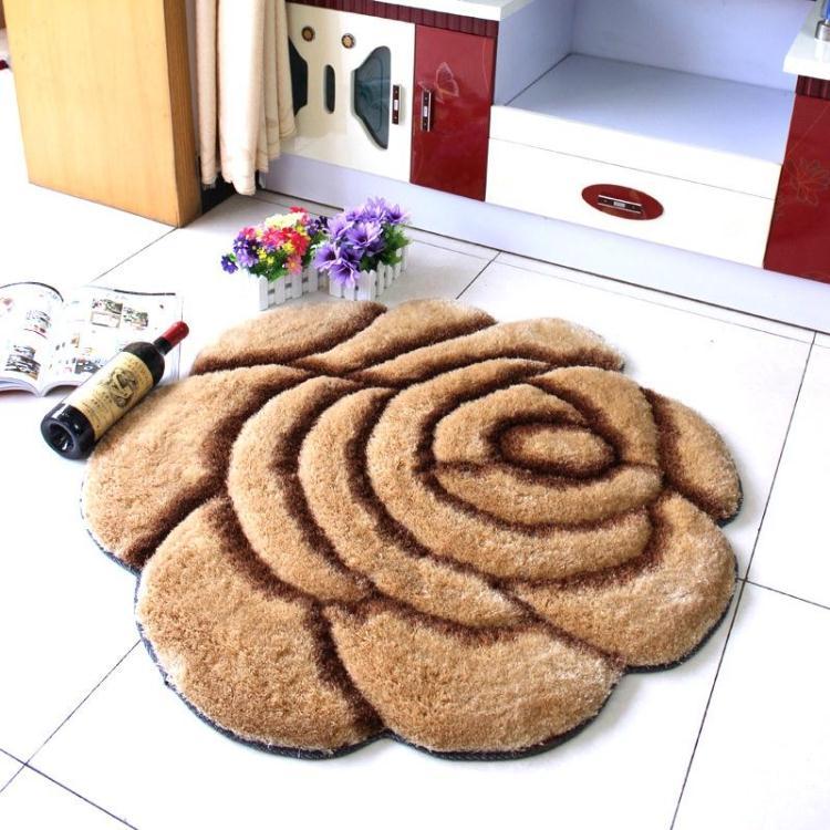 Объемный ворсистый круглый ковер с объемным цветком, коврики для дома, гостиной, свадьбы, тапеты, ворсистые ковры, толстые круглые ковры с цветочным рисунком - Цвет: single cafe