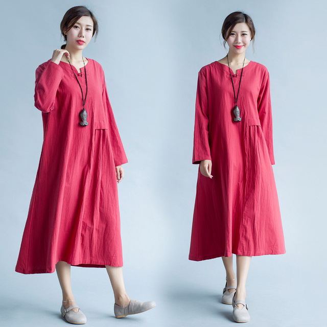 30f8e18c796 Maternity Dresses for Pregnant Women New 2017 Autumn Cotton Linen Dress  Buttoned Loose Retro Long Paragraph