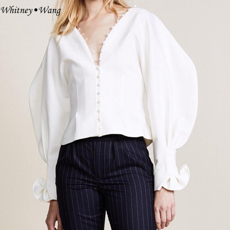 Élégant Tops cou Wang Blouse Bouffantes Manches 2018 Printemps Mode Mince V Whitney Vintage Femmes Bouton Blusas Style Shirt wq1YTczSx