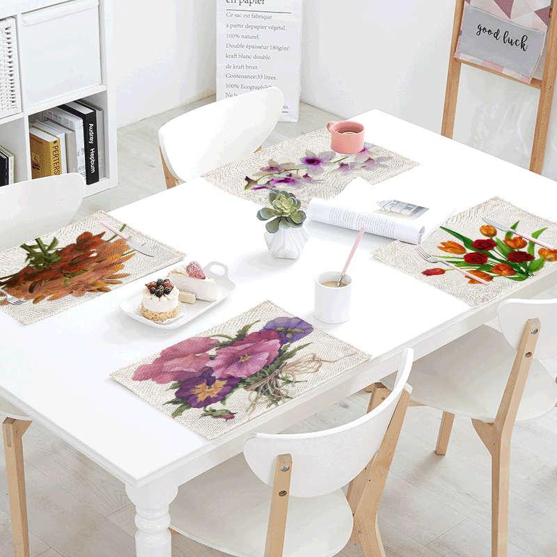 Flowers Sailing Linens Table Napkins Tea Placemat Place Mat Polyester Rose Jellyfish Servilletas Para Bodas Design Party Decor