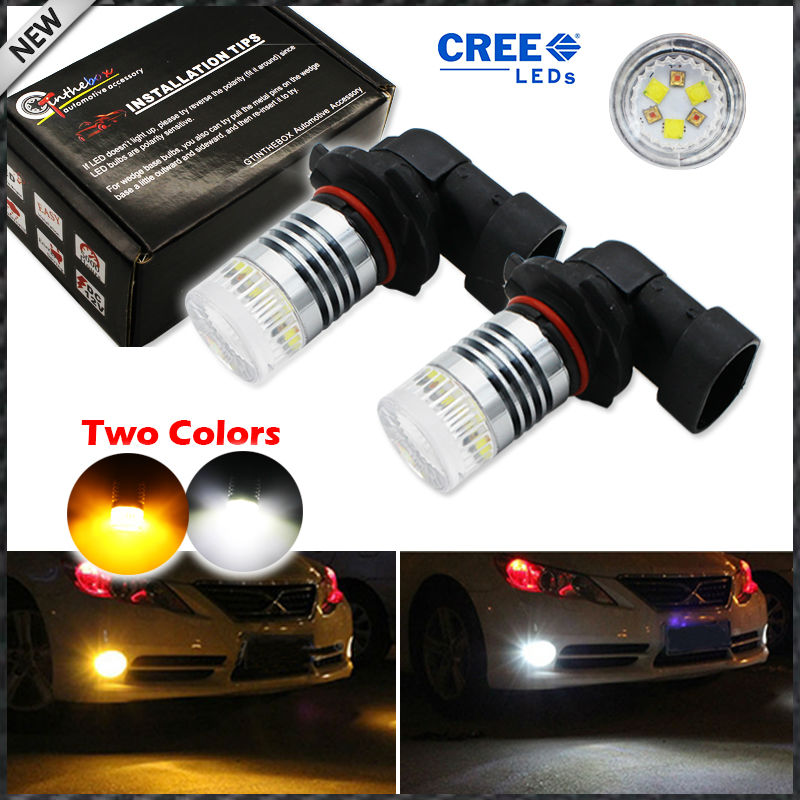 iJDM Color Switchable Xenon White/Amber Yellow  High Power 9005 HB3 H10 LED Bulbs Fog Lamps or Driving Light Replacement