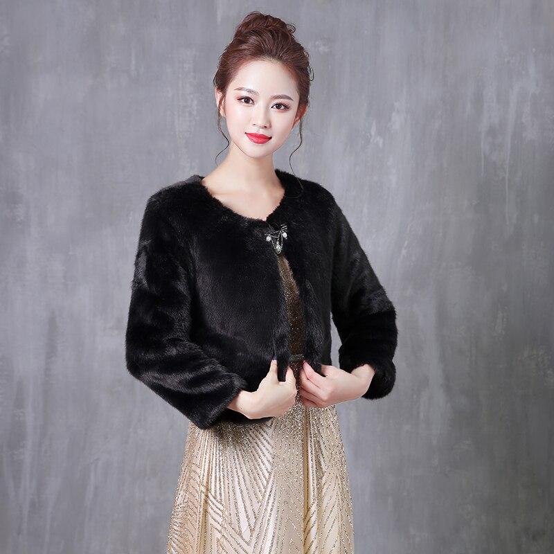 2019 Women Black Bridal Wraps Shawls Long Sleeve Wedding Bolero Warm Faux Fur Winter Wraps Wedding Accessories