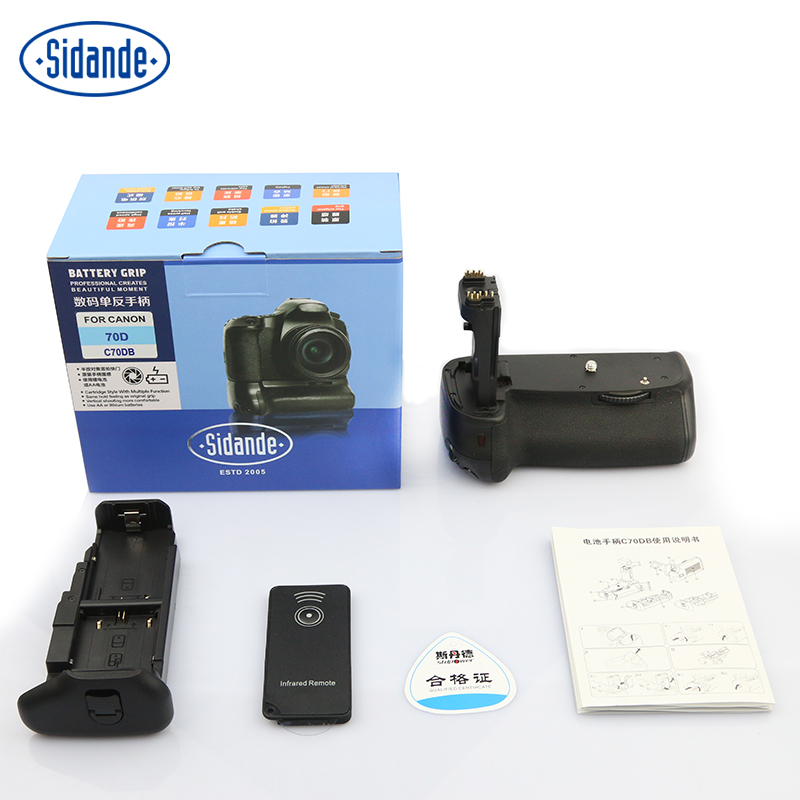 ФОТО Sidande Vertical Battery Grip for Canon 70D DSLR LP-E6  camera Handheld BG-E14 good quality free shipping