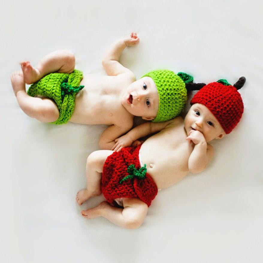 Baby Baby Girls Clothing Hat+ Pant Newborn Baby Apple Knit Crochet Clothes Costume Photo Photography Props Outfits