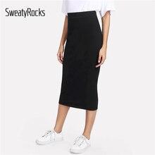 SweatyRocks черная юбка миди уличная Высокая талия элегантные однотонные юбки карандаш весенние женские Повседневные базовые юбки
