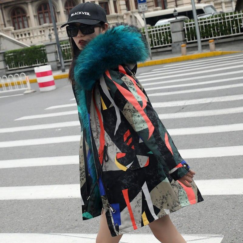 2018 nouvelles femmes de mode de luxe Grande fourrure de raton laveur collier à capuchon manteau chaud doublure en fourrure de Renard parkas long hiver veste top qualité