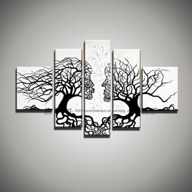 5 piece gambar kanvas wall art hitam putih lukisan art ciuman pohon landscape modern abstrak minyak