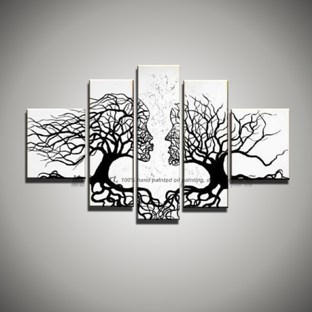 5 piece picture canvas wall art black white painting art modern abstract kiss tree landscape oil painting for living room large