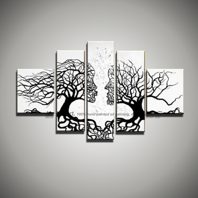 5 piece picture canvas wall art black white painting art Modern ...