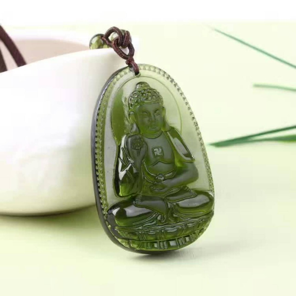 3 Natural Czech Moldavite green aerolites Carved Buddha Lucky Amulet Pendant crystal energy apotropaic free rope Unique Necklace-in Colgantes from Joyería y accesorios    2
