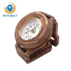 Деревянные настенные часы узор защиту окружающей среды Ретро часы прыжок секунд чип-часы исследование спальня гостиная украшения