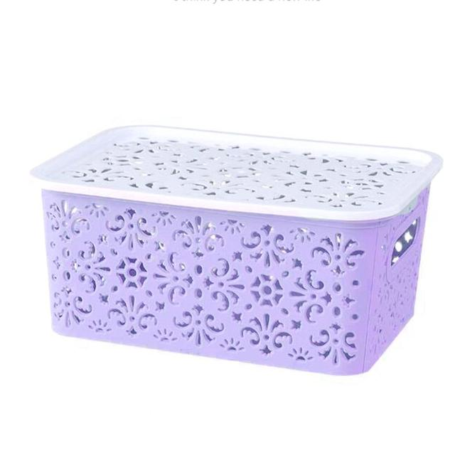 LanLan Creative Plastic Desktop Hollow Storage Basket Underwear Storage Box Kitchen Organizer Clothes Toys Storage Container