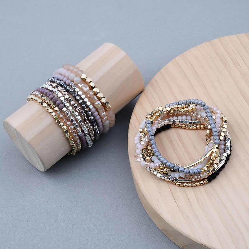 Bojiu multicolorido cristal strand pulseiras para as mulheres ouro acrílico cobre contas rosa branco preto cinza cristal pulseira femme bc226