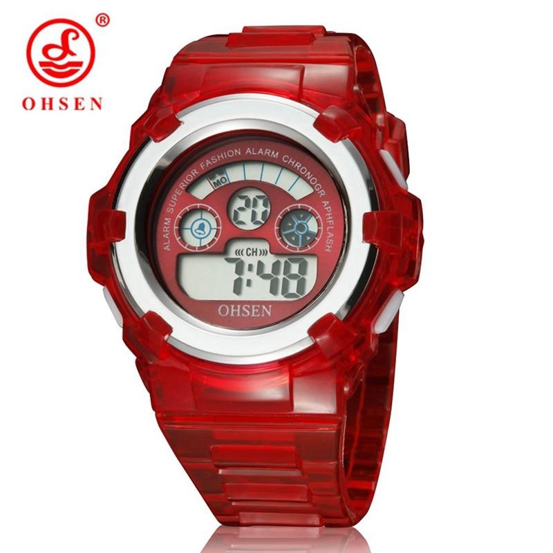 NEW In 2016 OHSEN Digital Kids Girls Fashion Red Wristwatch Gift Watch 30M Waterproof Silicone Strap Children LCD Hand Clocks