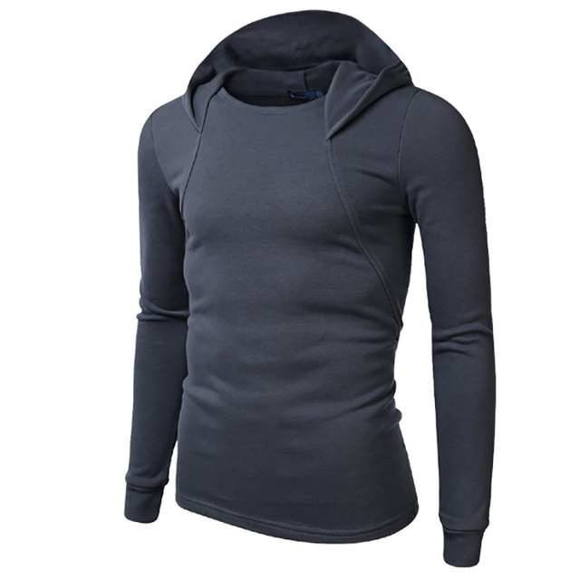 Free Shipping!2017 New Arrivals Wholesale Casual Men Hoodies,Fashion Pure Color Slim Fit Long Sleeves Hooded Sweatshirt
