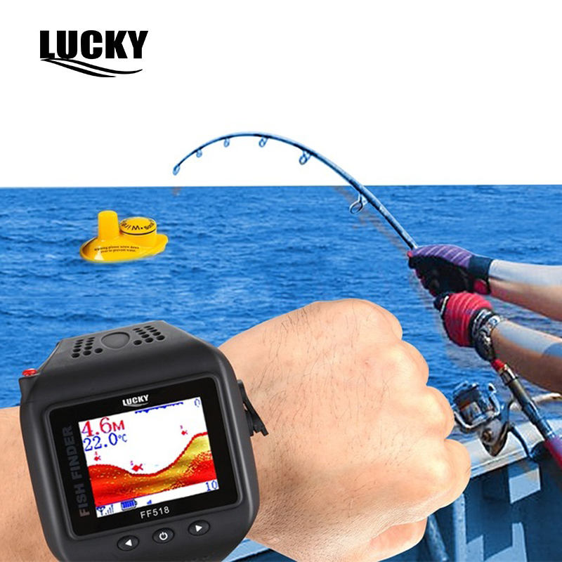 Wireless Watch Type Mini Sonar Fish Finder Wireless Fishfinder 180Feet (60M) Range Echo Outdoor Lake Fishing Sounder for Gift brand portable waterproof wire fish finder lcd monitor sonar sounder alarm fishfinder 2 feet to 328 feet echo fishing finder