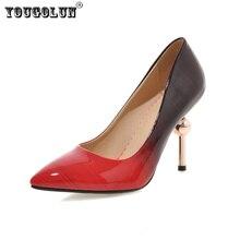Yougolun женщина острым носом на высоком каблуке насосы женщины лето осень обувь мода смешанные цвета патент женская рабочая партия насосы