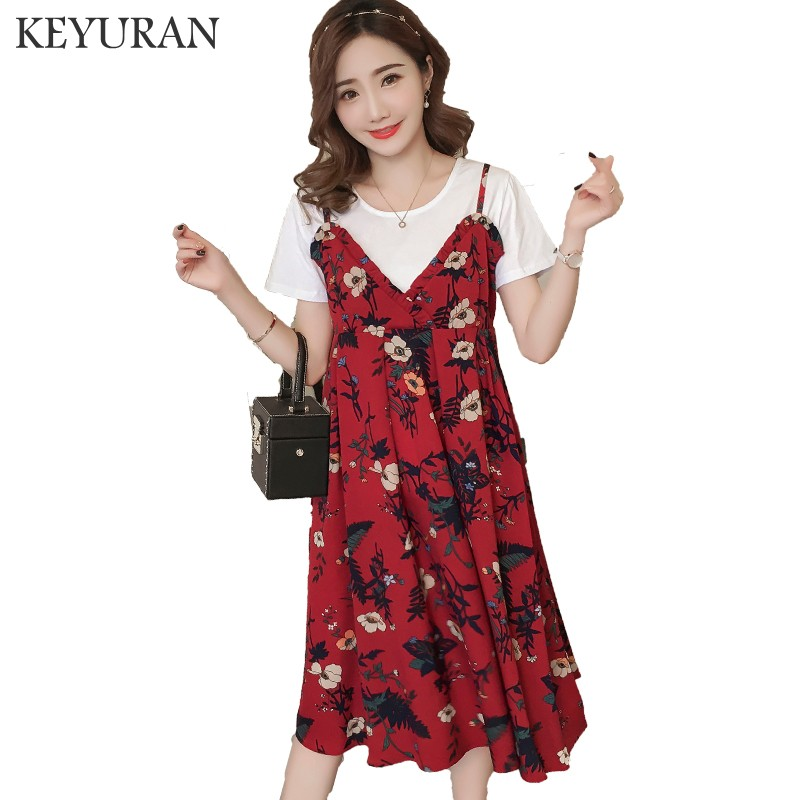 Fashion Floral Print Chiffon Sling Dress Maternity Dresses Photography Props Vestidos Pregnancy Clothes T Shirt +Dress Sets 120
