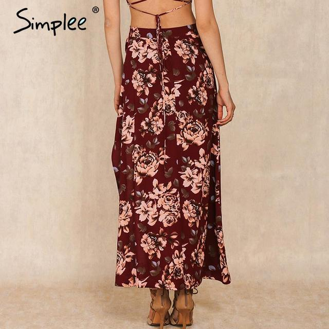 Simplee Floral print women bohemian split long skirt Summer sexy girls 90's high waist casual loose maxi skirts female