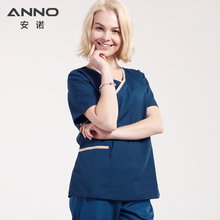 Темно-синие классический Рубашка с короткими рукавами форма медсестры, медицинская скрабы Комплект Одежда для хирургов доктор Костюм больничное дентальное ткани