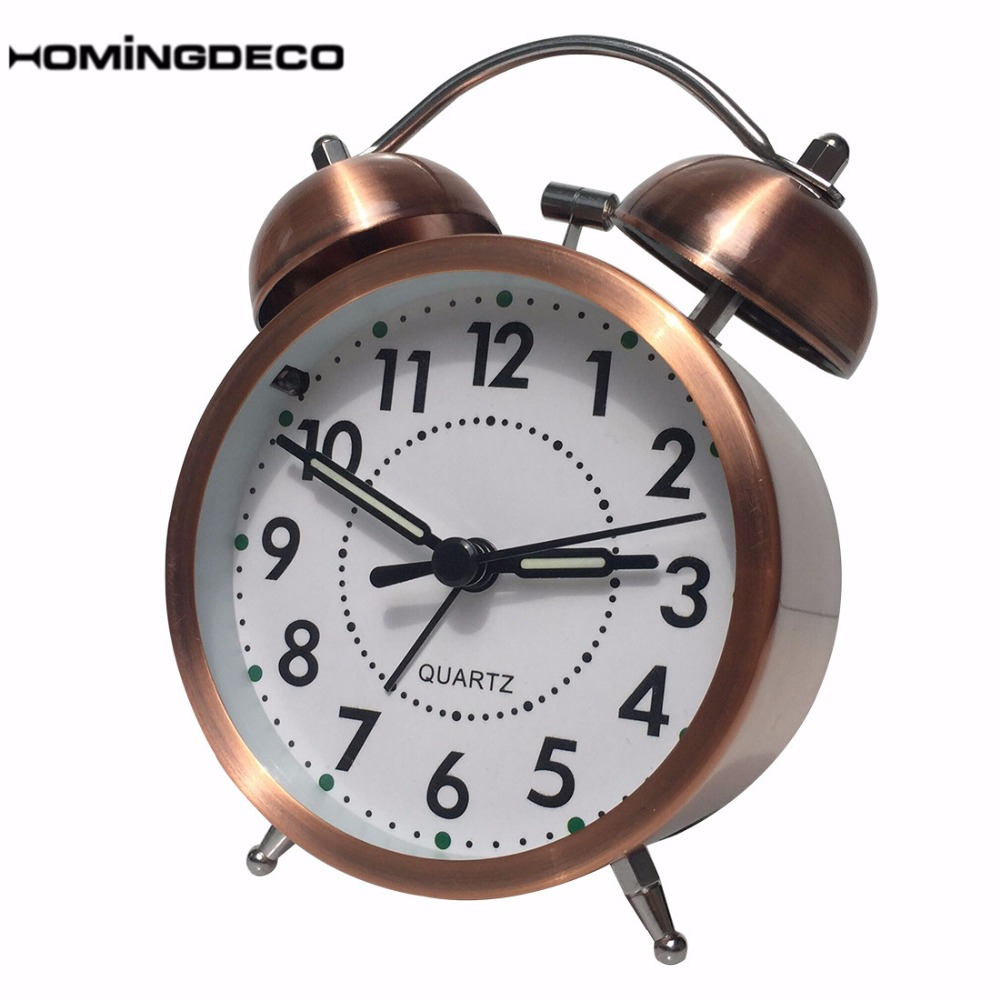 Double Bells Alarm Clock Night Light Function with Resounding Ring Clock Type A - Red Bronze