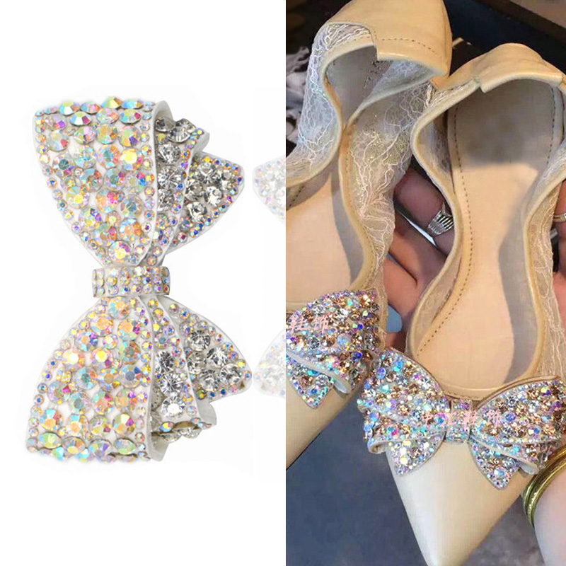 1pcs Bow Crystal Bridal Wedding Party Shoes Accessories High Heels Shoes DIY Manual Rhinestone Shoe Decorations Shoe Flower