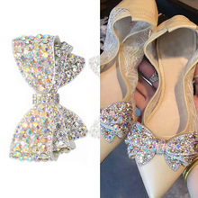 1pcs Bow Crystal Bridal Wedding Party Shoes Accessories High Heels Shoes DIY Manual Rhinestone Shoe Decorations Shoe flower big bow fashion wedding party pump shoe for woman coffee bows white ankle pearls rhinestone tg195 bridal brides bridesmaid shoes